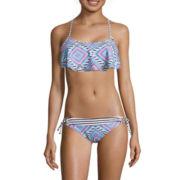 Arizona Diamond Fantasy Flounce Bralette Top & Side-Tie Hipster Swim Bottoms
