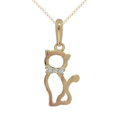 jcpenney.com | Girls White Cubic Zirconia 14K Gold Pendant Necklace