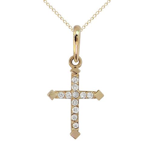 Womens White Cubic Zirconia 14K Gold Pendant Necklace