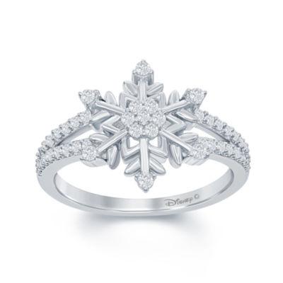 """7 1//4/"""" Diamond April Birthstone Snowflake Bracelet in Sterling Silver"""