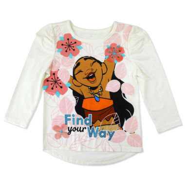 jcpenney.com | Disney By Okie Dokie Girls Long Sleeve Moana Graphic T-Shirt - Toddler
