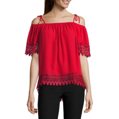 jcpenney.com | by&by 3/4 Sleeve Scoop Neck Crepe Blouse-Juniors