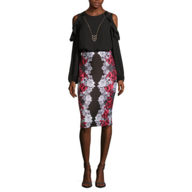 jcpenney.com | BY LONG SLEEVE RUFFLE BLOUSE  WITH BY PRINTED SCUBA PENCIL SKIRT