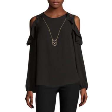 jcpenney.com | by&by Long Sleeve Scoop Neck Crepe Blouse-Juniors