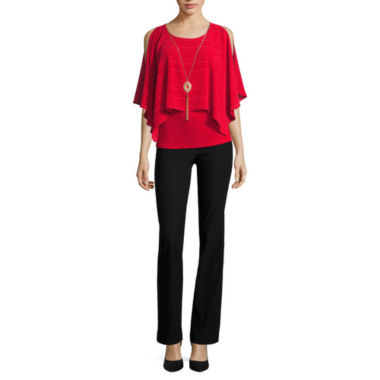 jcpenney.com | BY SHORT SLEEVE  NECKLACE PONCHO WITH BY MILLENIUM BOOTCUT PANT