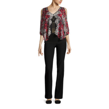 jcpenney.com | BY PRINTED NECKLACE TOP WITH BY SKINNY PANT
