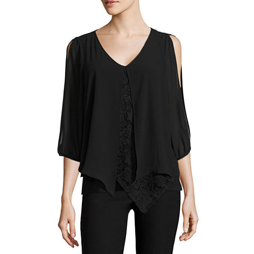 by&by 3/4 Sleeve V Neck Blouse-Juniors