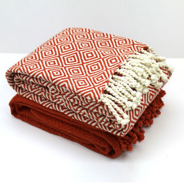 jcpenney.com | 100% Cotton Multi Diamond 2 Pack Throws