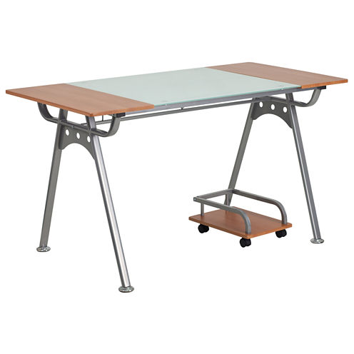 Glass And Cherry Laminate Top Desk