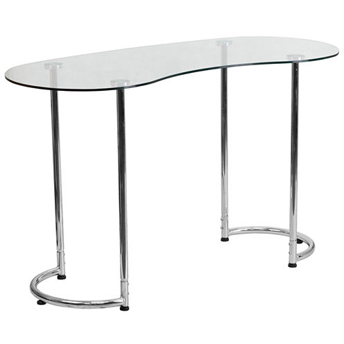 Clear Tempered Glass Top Desk