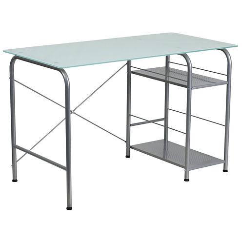 Open Storage Glass Desk
