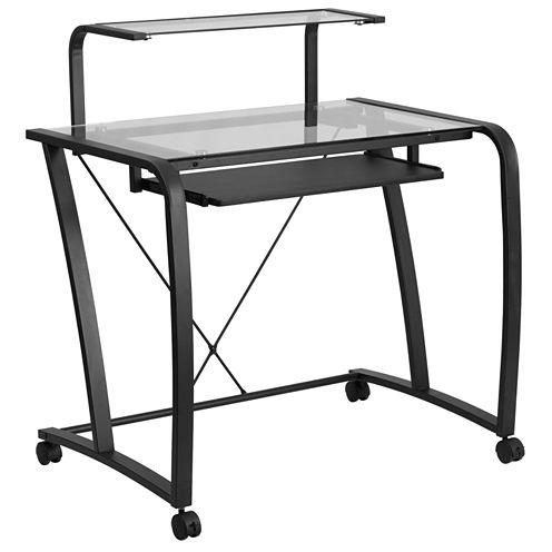 Mobile Glass Desk with Monitor Platform
