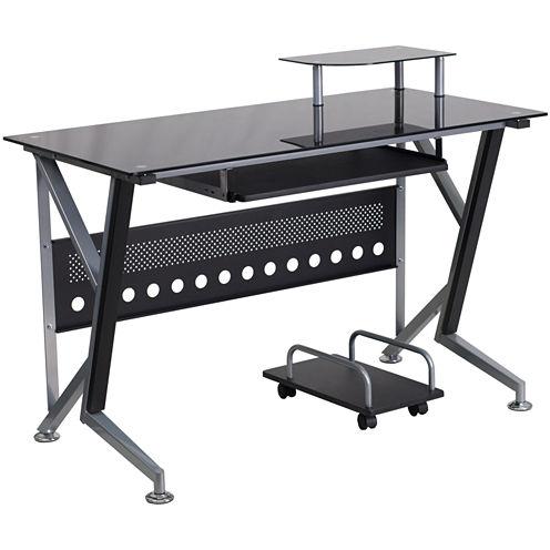Black Glass Computer Desk with CPU Cart