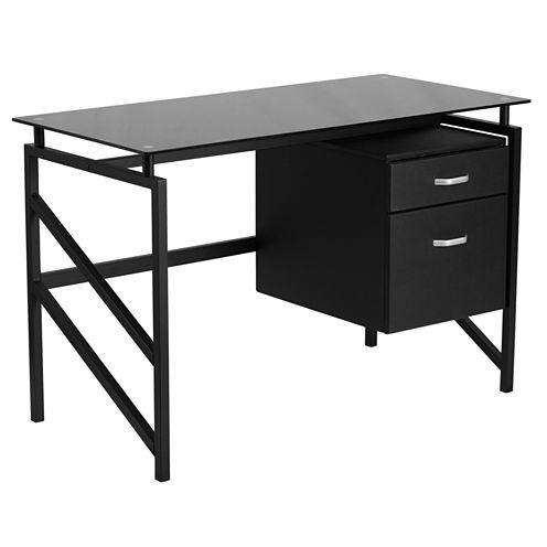 Two Drawer Glass Desk