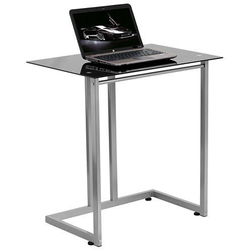 Black Temperered Glass Computer Desk