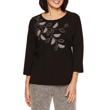 jcpenney.com | Alfred Dunner Wrap It Up 3/4 Sleeve Crew Embroidery Top