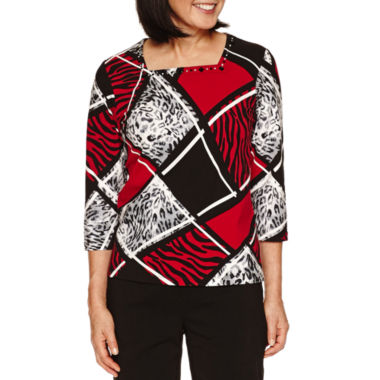 jcpenney.com | Alfred Dunner Wrap It Up 3/4 Sleeve Colorblock Top
