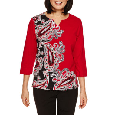 jcpenney.com | Alfred Dunner Wrap It Up 3/4 Sleeve Paisley Print Top