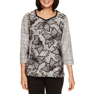 jcpenney.com | Alfred Dunner Wrap It Up 3/4 Sleeve Flocked Floral Top