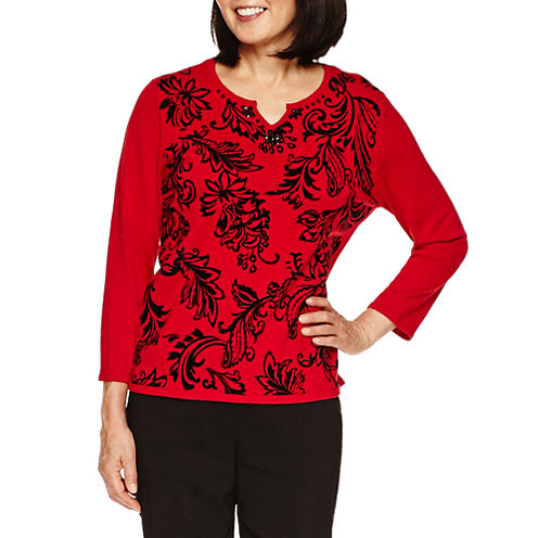 Alfred Dunner Wrap It Up 3/4 Sleeve V Neck Pullover Sweater