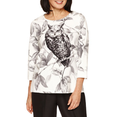 jcpenney.com | Alfred Dunner 3/4 Sleeve Owl Print Top