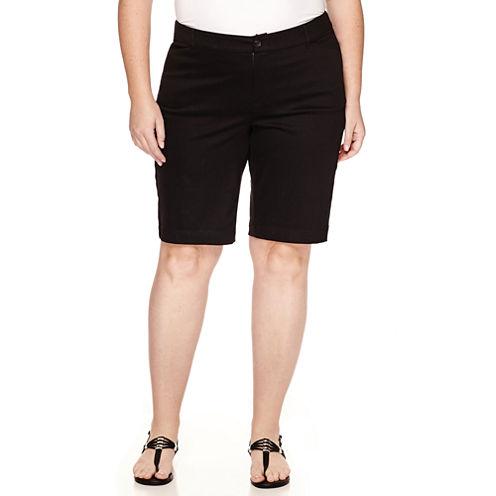 "St. John's Bay® Twill Bermuda Shorts-Plus (11.5"")"
