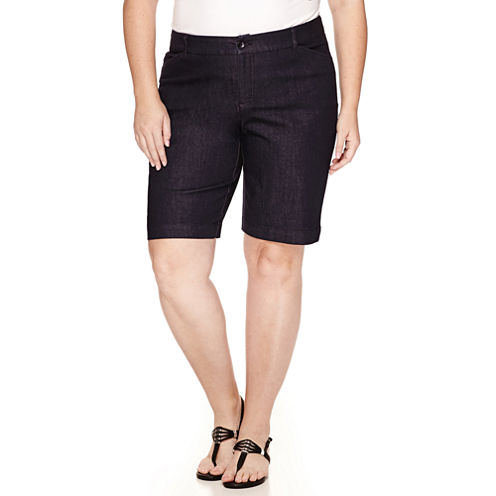 St. John's Bay Twill Bermuda Shorts-Plus