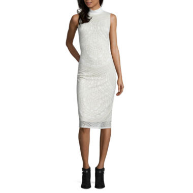 jcpenney.com | BELLE + SKY Sleeveless Mock Neck Burnout Bodycon Dress