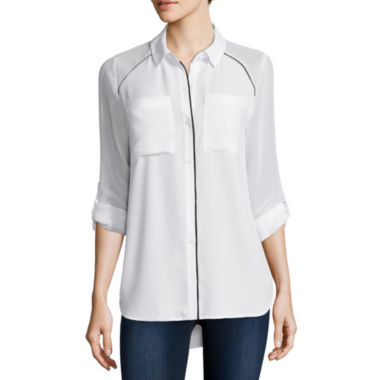 jcpenney.com | Belle + Sky Long Sleeve Roll Tab Top