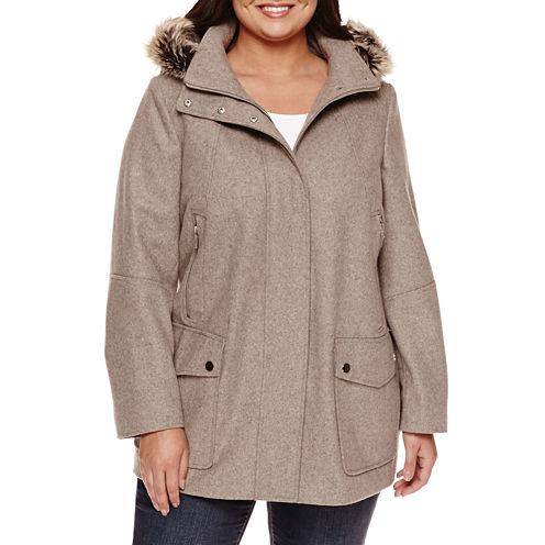 a.n.a® Fur Trim Casual Zip Wool Coat - Plus
