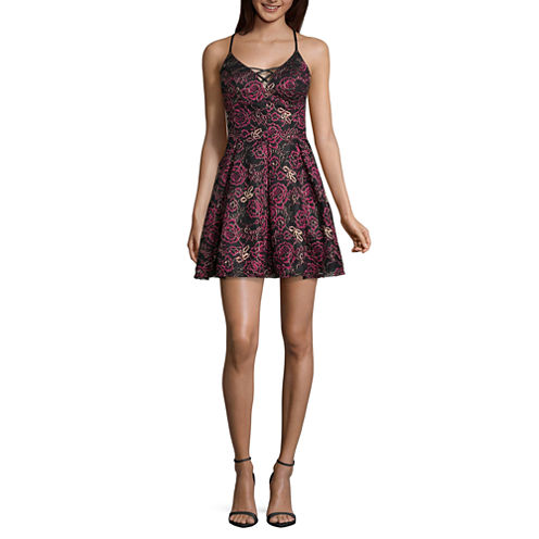 Jump Girl Sleeveless Floral Fit & Flare Dress-Juniors