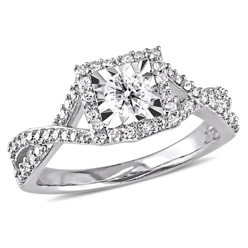 Womens 1/2 CT. T.W. Genuine Round White Diamond Sterling Silver Engagement Ring