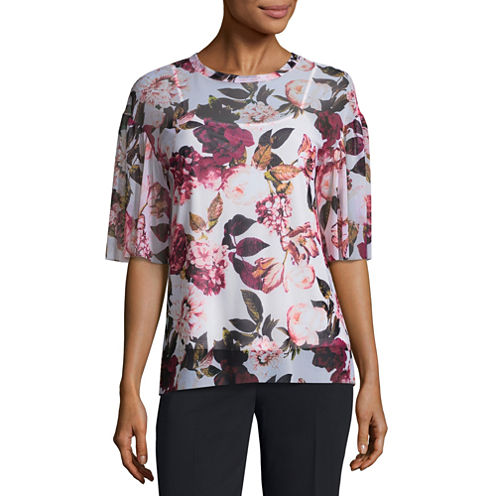 Worthington Short Sleeve Crew Neck Floral T-Shirt-Womens Petites