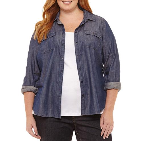 St. John's Bay® Long Sleeve Denim Classic Button Down Shirt - Plus
