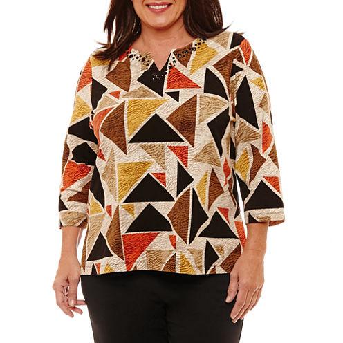 Alfred Dunner Jungle Habitat 3/4 Sleeve Geometric T-Shirt-Womens Plus