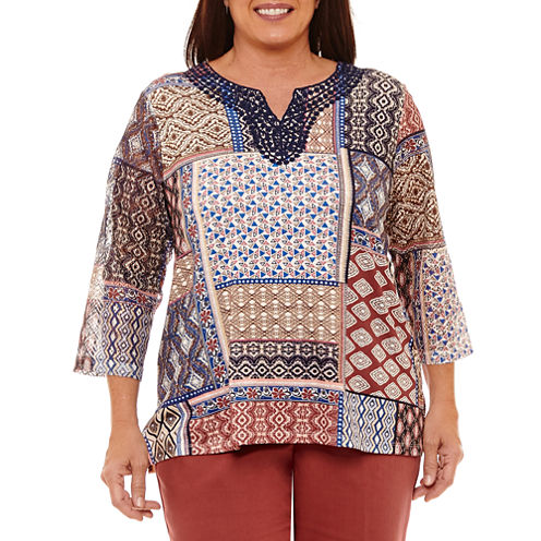 Alfred Dunner Gypsy Moon 3/4 Sleeve Split Crew Neck Patchwork T-Shirt-Womens Plus