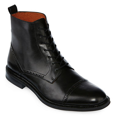 Stafford Mens Gunner Cap Toe Leather Boots