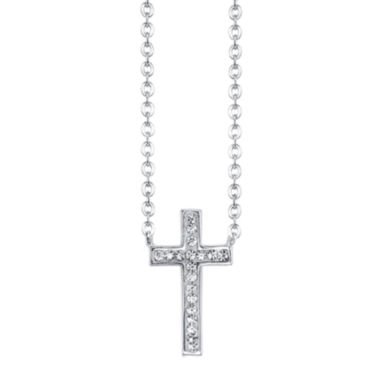 jcpenney.com | Crystal Sophistication™ Silver-Plated Crystal-Accent Cross Pendant Necklace