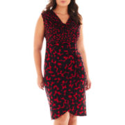 London Style Collection Cap-Sleeve Side-Ruched Dress - Plus
