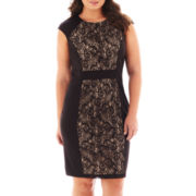 London Style Collection Cap-Sleeve Inset Sheath Dress - Plus