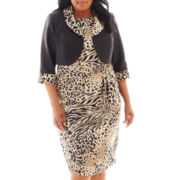 Dana Kay Animal Print Dress with Jacket - Plus