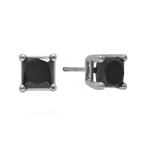 2 CT. T.W. Color-Enhanced Black Diamond Princess-Cut Stud Earrings