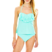 Arizona Laser-Cut Bandeaukini Swim Top or Solid Hipster Bottoms - Juniors