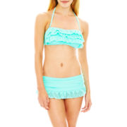 Arizona Laser-Cut Bandeau Swim Top or Skirtini Bottoms - Juniors