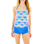 Arizona Print Bandeaukini Swim Top or Solid Swim Shorts - Juniors