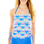 Arizona Side-Shirred Print Bandeaukini Swim Top - Juniors