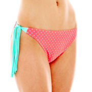 Arizona Pin Dot Tassel Hipster Swim Bottoms - Juniors