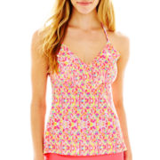 Arizona Mosaic Print Flounce Halterkini Swim Top