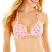 Arizona Mosaic Print Triangle Pushup Bra Swim Top - Juniors