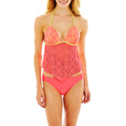 Arizona Crochet Halterkini Swim Top or Solid Hipster Bottoms - Juniors